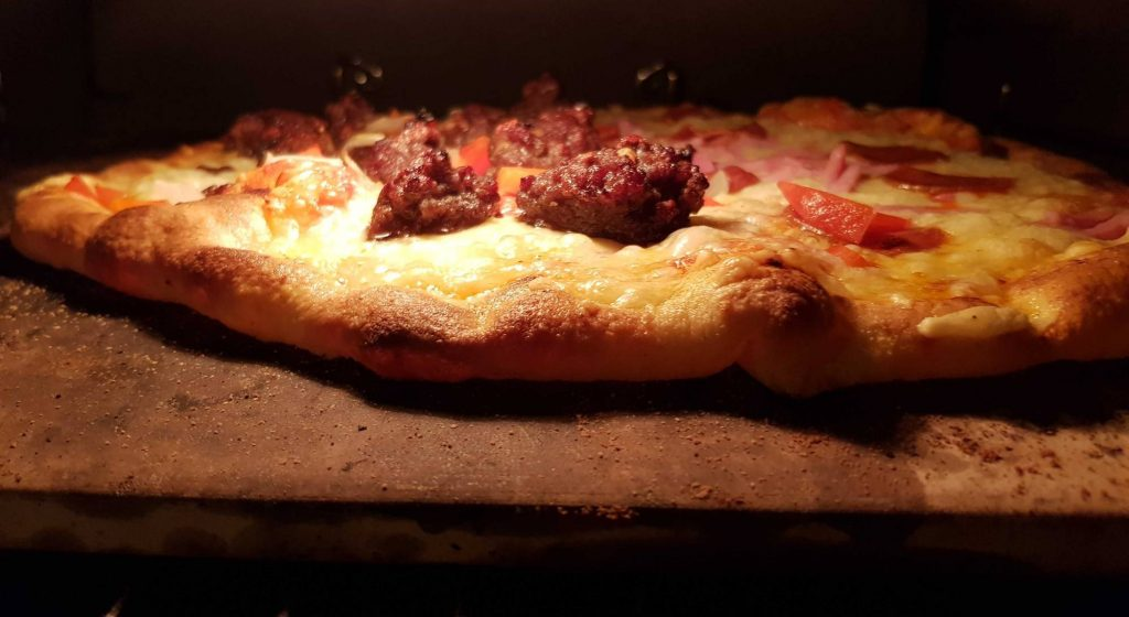 Bulgogi pizza in oven