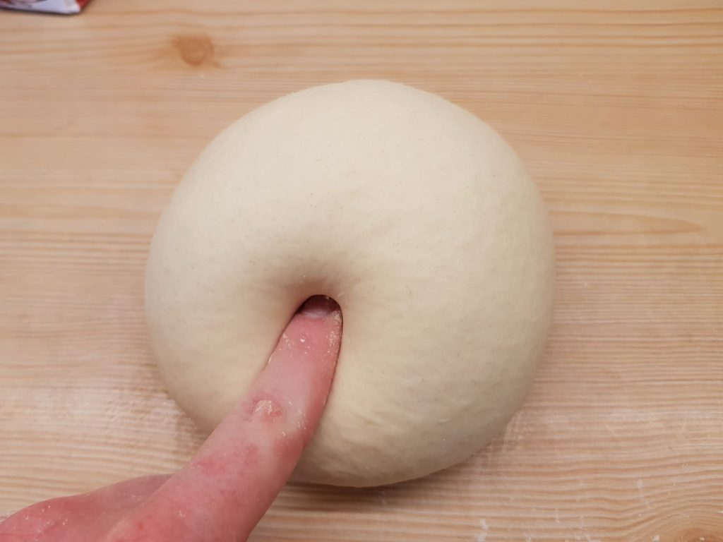 checking if the dough springs back